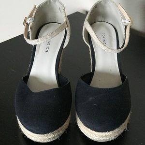 0d41f07ec369 Covington Shoes - Covington Cape Black Tan Espadrille Wedge Sandal